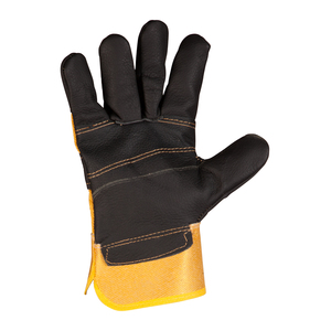 Heavy Duty Black & Yellow Leather Rigger Glove