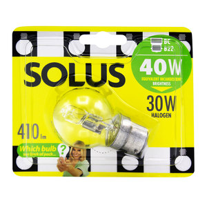 Solus 40W BC Clear Round Halogen Energy Saver Bulb