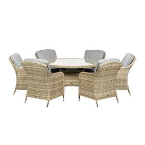 Wentworth 6 Seater Rattan Round Dining Set