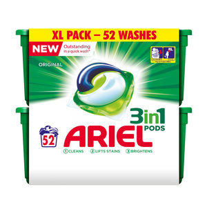 Ariel 3 in 1 Washing Pods 52 Pack