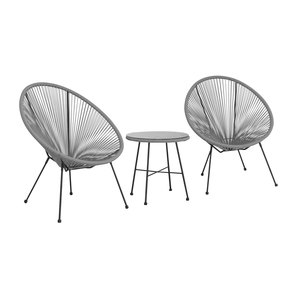 2 Seater Bistro Egg Chair Set Grey