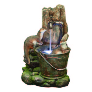 Kelkay Playful Otters Water Feature With LED Light