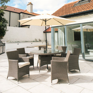 Santorini 6 Seater Round Rattan Furniture Set 1.4M