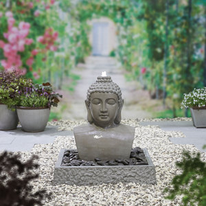 Lotus Buddha Water Feature including LED's