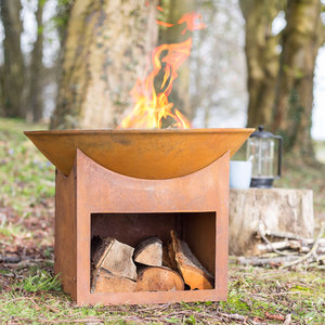 Fasa Oxidised Firepit with Log Store